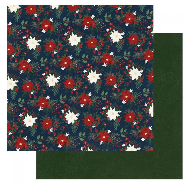 Papier Imprimé Recto-verso 12x12 Winter Memories Poinsettias