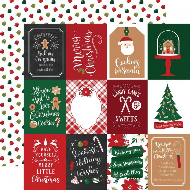 "Papier Imprimé Recto-verso 12x12 A Gingerbread Christmas 3""X4"" Journaling Cards"