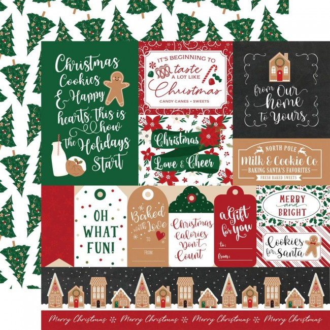 Papier Imprimé Recto-verso 12x12 A Gingerbread Christmas Multi Journaling Cards