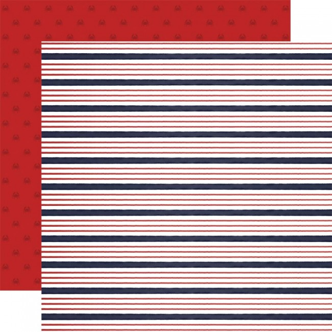 Papier Imprimé Recto-verso 12x12 By The Sea Sailor Stripe