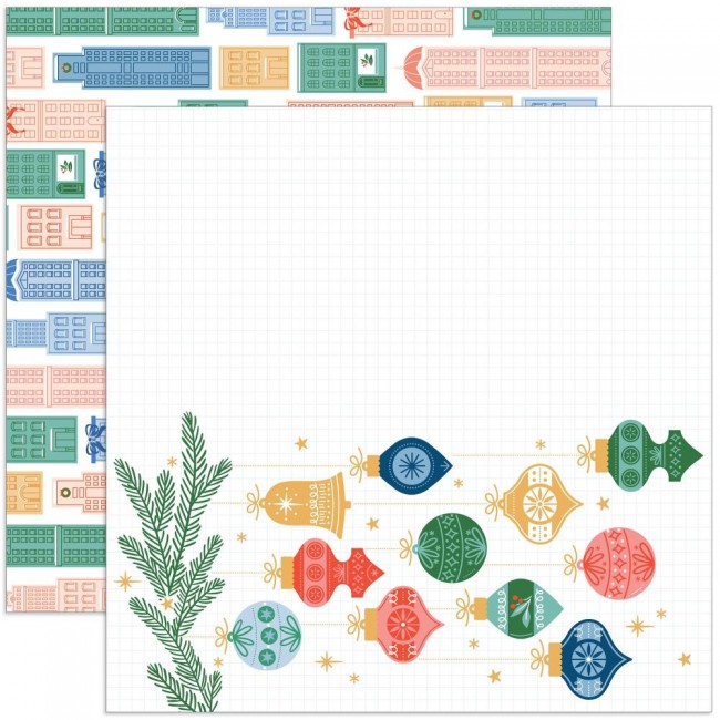 Papier Imprimé Recto-verso 12x12 Oh What Fun Home For The Holidays