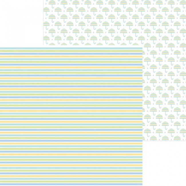 Papier Imprimé Recto-verso 12x12 Special Delivery DO Nursery Stripe