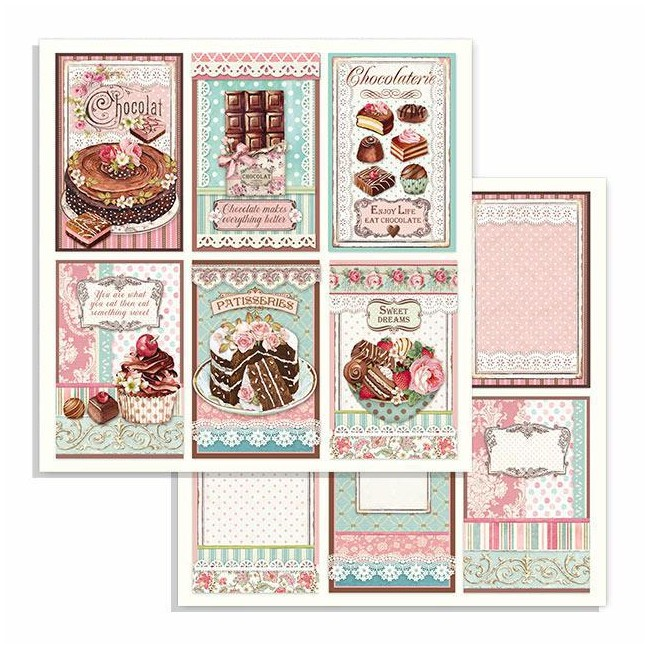 Papier Imprimé Recto-verso 12x12 Sweety Chocolate Cards