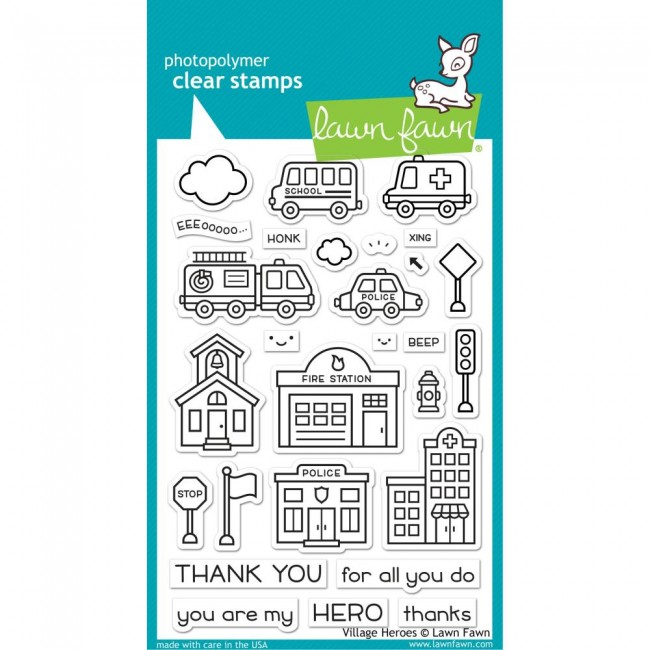 Tampon Acrylique 4x6 Lawn Fawn Village Heroes