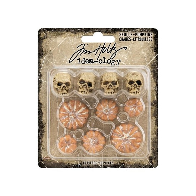 Lot d'embellissements en résine Halloween Mini Skulls & Pumpkins