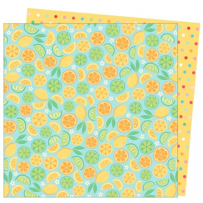 Papier Imprimé Recto-verso 12x12 Wild Card Damask Love Squeeze the Day