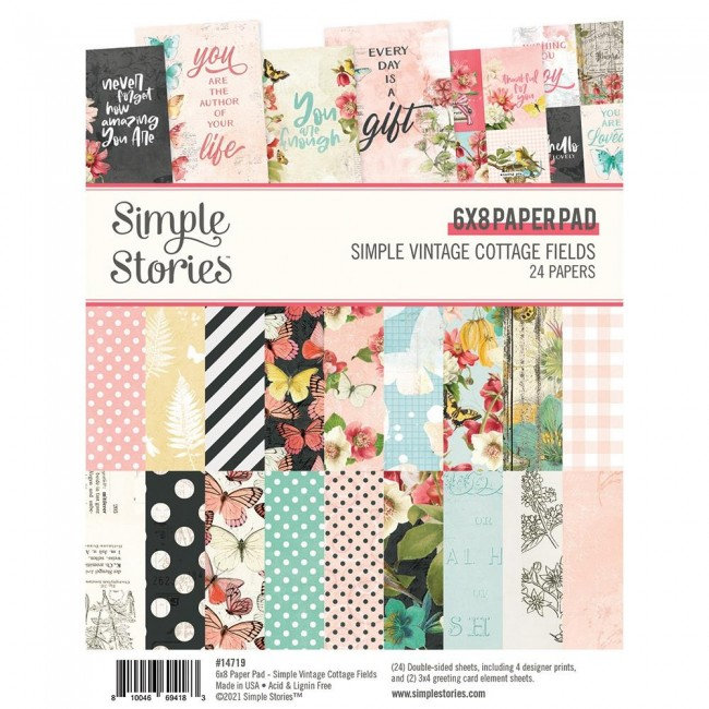 Stack Papiers Imprimés 6x8 Simple Vintage Cottage Fields