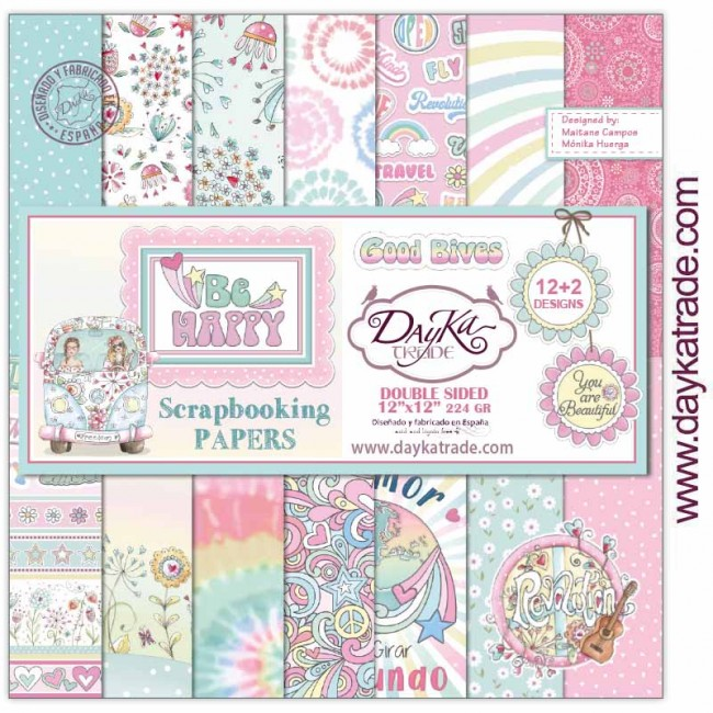 Stack Papiers Imprimés 12x12 Be Happy