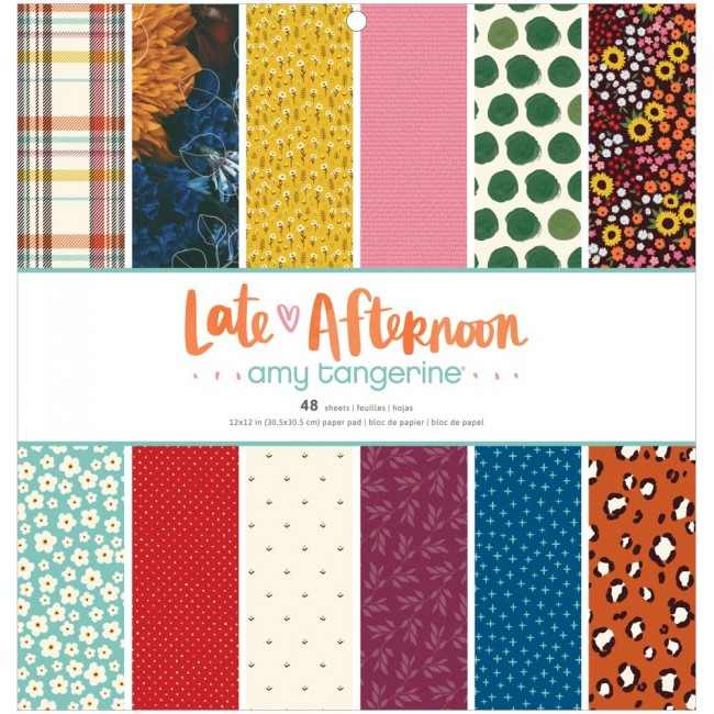 Stack Papiers Imprimés Recto 12x12 Late Afternoon Amy Tangerine