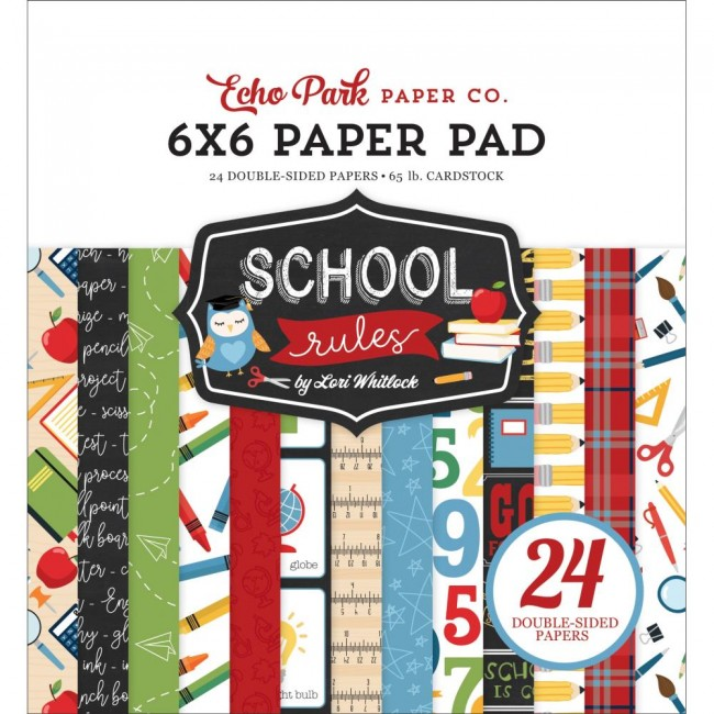 Stack Papiers Imprimés 6x6 School Rules  12 Designs/2 Each