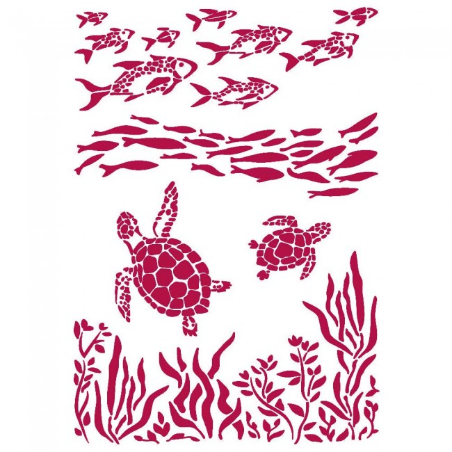 Pochoir A4 Romantic Collection Sea Dream fish and turtles