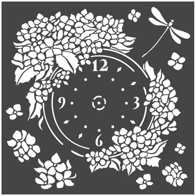 "Pochoir 7"" x 7"" Hortensia Clock"