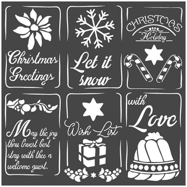 "Pochoir 7"" x 7"" Pink Christmas Christmas Tags"