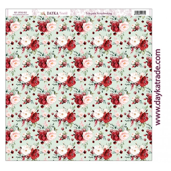 Toile 12x12 Love makes us fly Rosas rojas con lunares