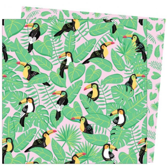 Papier Imprimé Recto-verso 12x12 Wild Card Damask Love Toucan Do It