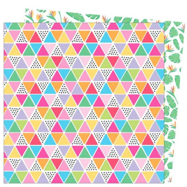 Papier Imprimé Recto-verso 12x12 Wild Card Damask Love Tropical Vibes