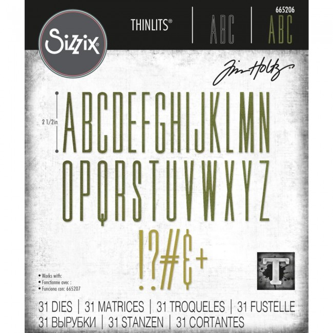 Matrice de Découpe Thinlits Alphanumeric Stretch Upper by Tim Holtz