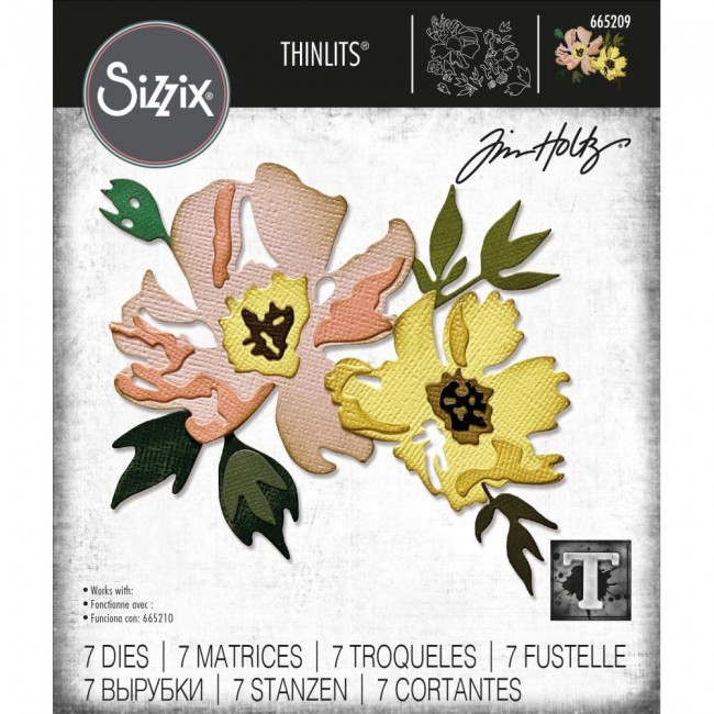 Matrice de Découpe Thinlits Brushstroke Flowers #1 by Tim Holtz