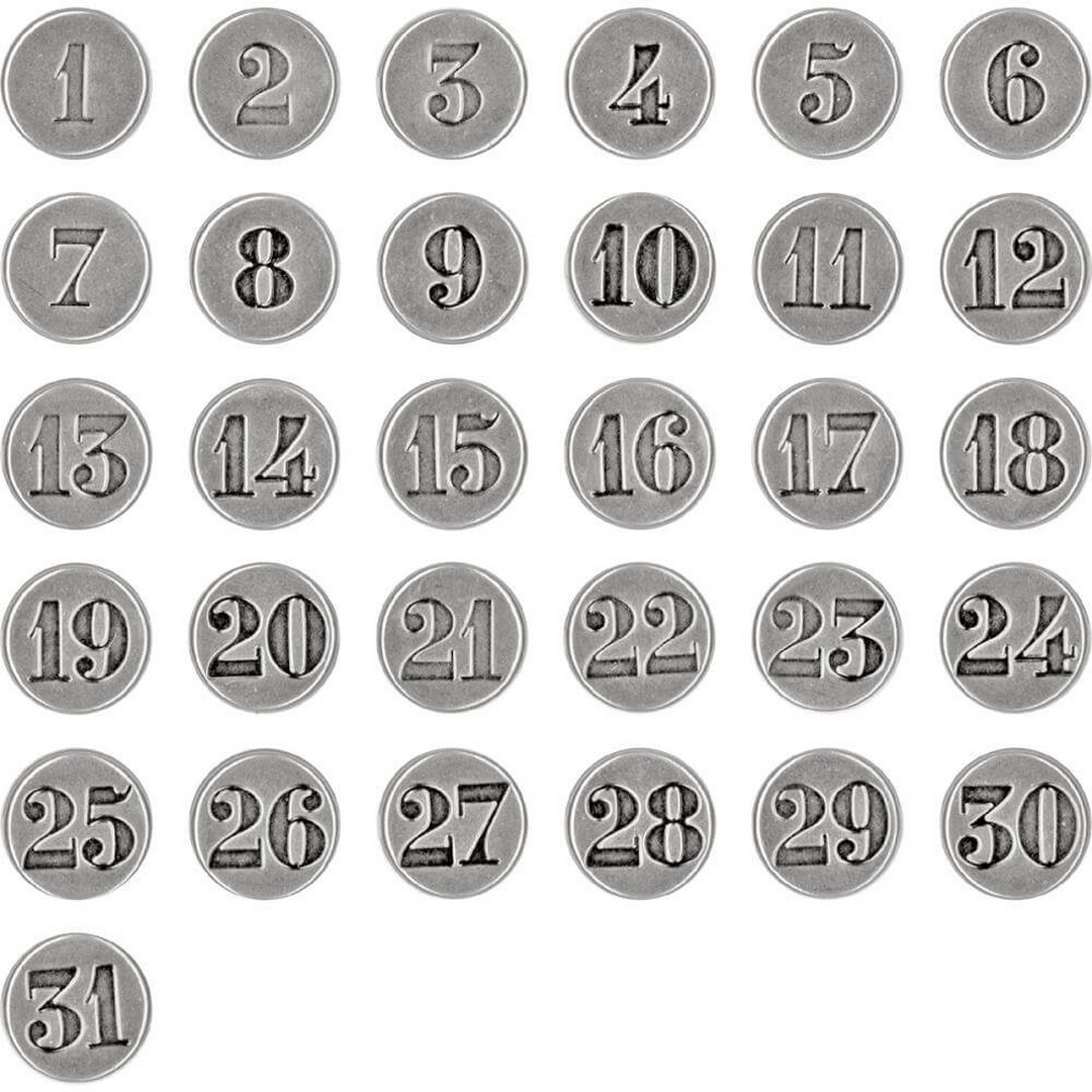 Brads Fasteners Idea-Ology - Antique Nickel Numbers 1 Through 31