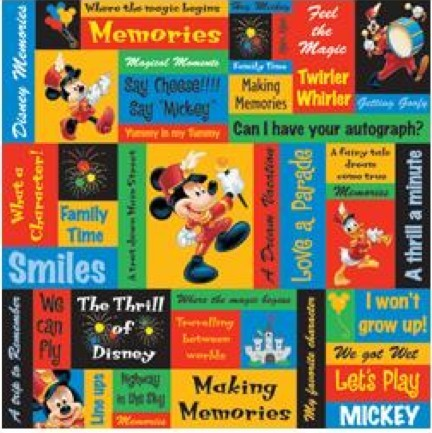 Papier Imprimé Recto 12x12 - Disney - Mickey Phrases