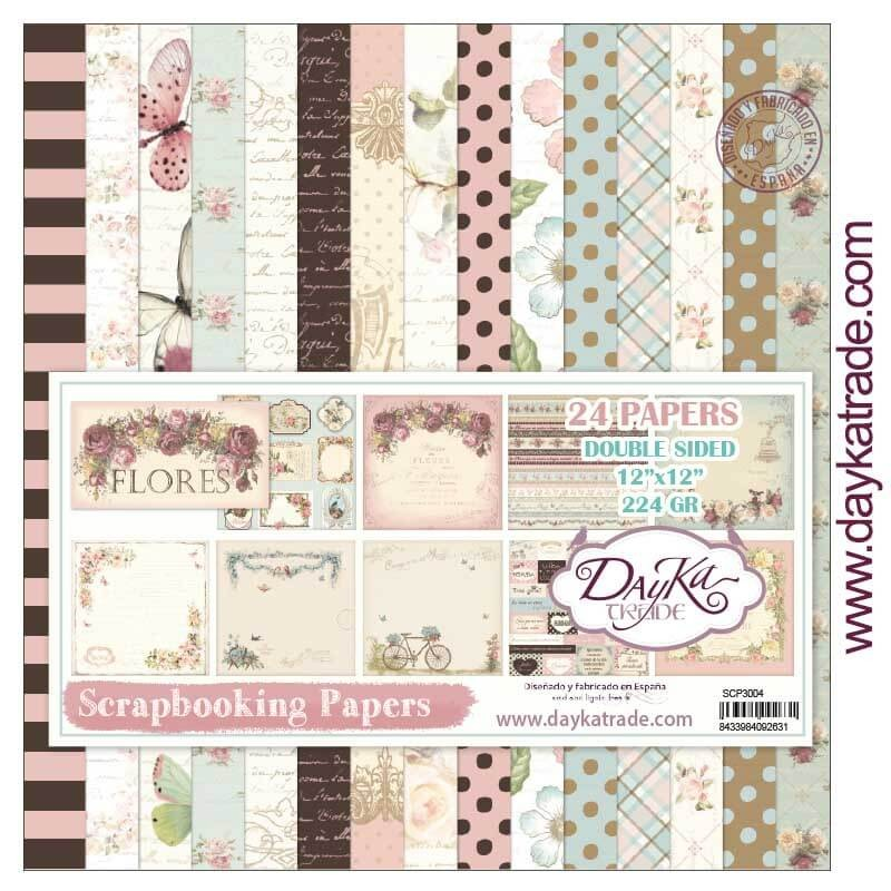 Stack Papiers Imprimés 12x12 Collection Flores