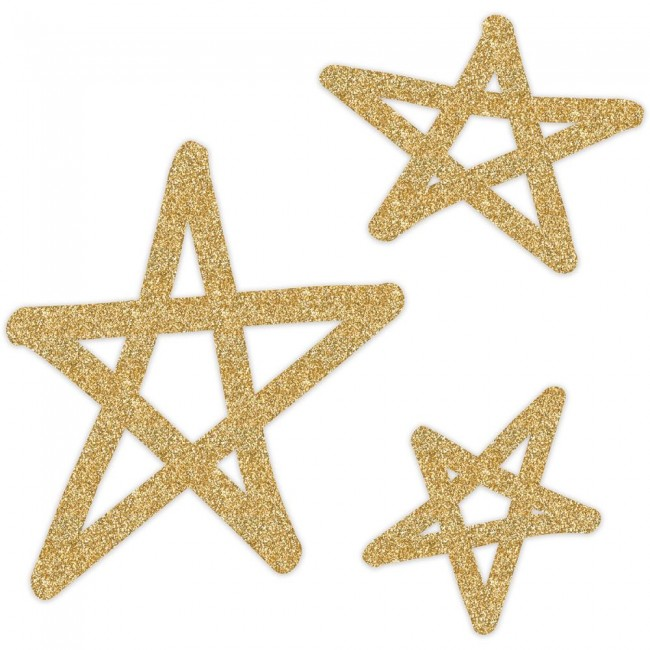 Gold Glitter Stars Wall Art Oh What Fun