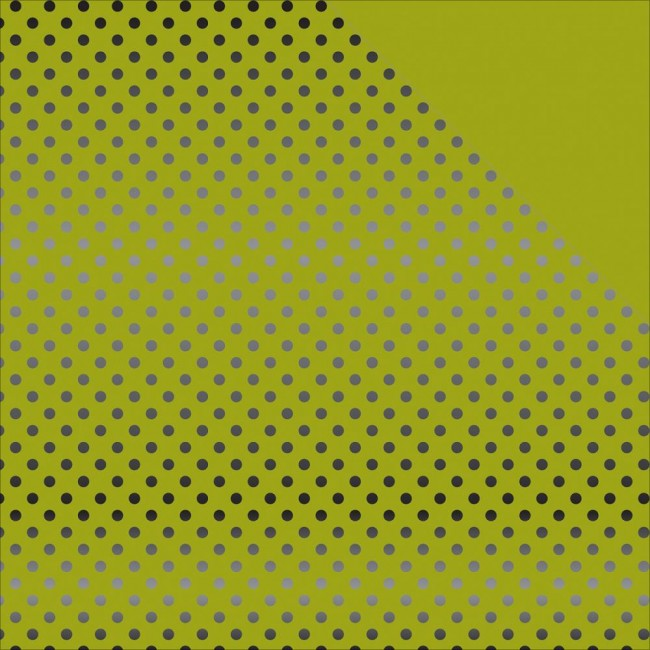Papier Imprimé Recto-Verso 12x12 - Dots & Stripes - Green W/Black
