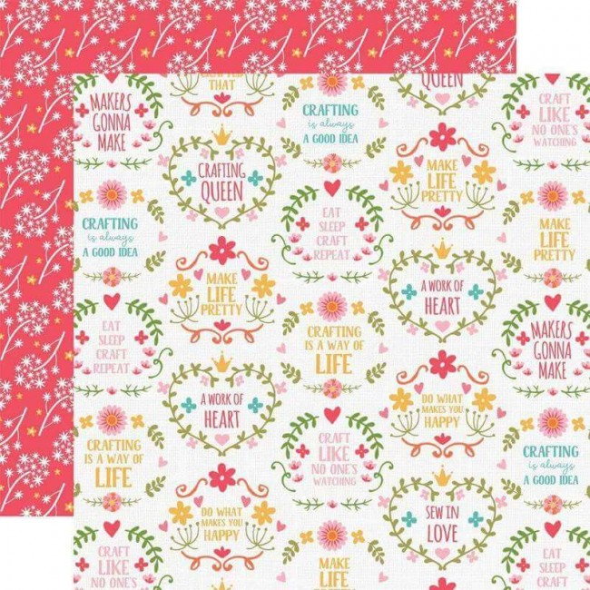 Papier Imprimé Recto-verso 12x12 I Heart Crafting Makers Gonna Make