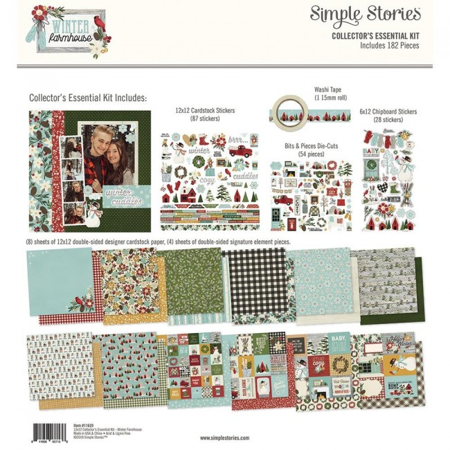 Kit Papiers Imprimés 12x12 Winter Farmhouse Essential