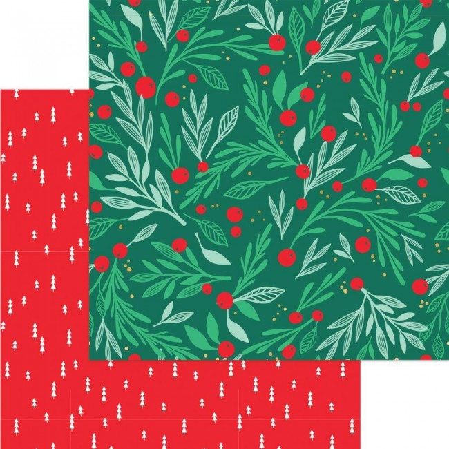 Papier Imprimé Recto-verso 12x12 Holly Jolly Deck The Halls