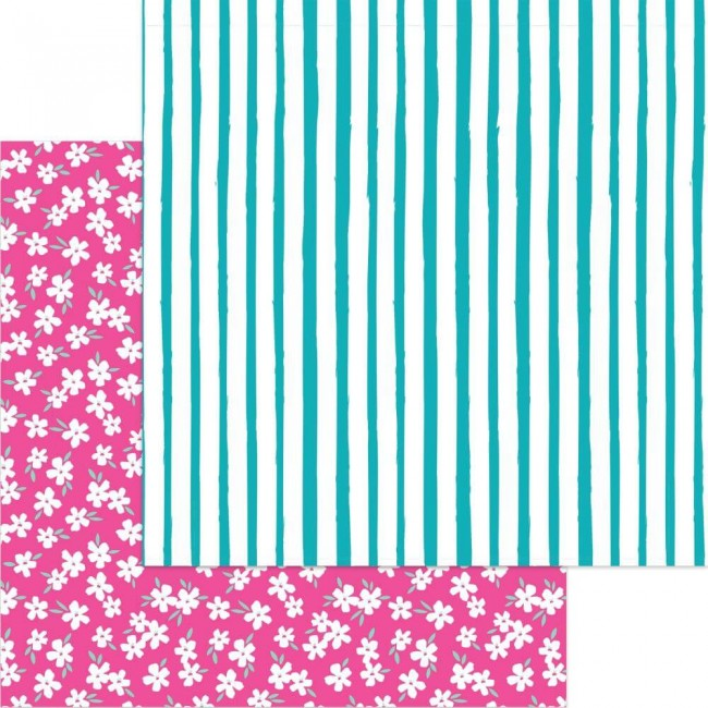 Papier Imprimé Recto-verso 12x12 One Fine Day Stripes In Bloom