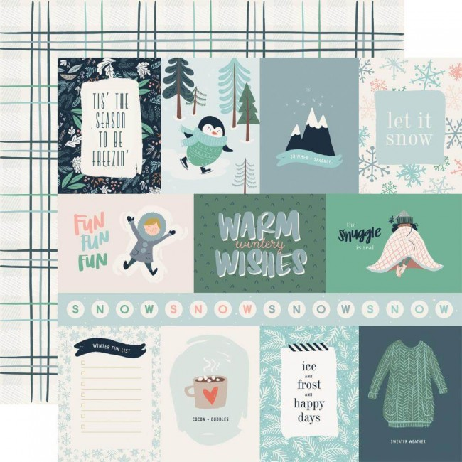 "Papier Imprimé Recto-verso 12x12 Snow Much Fun 3""X4"" Journaling Cards"