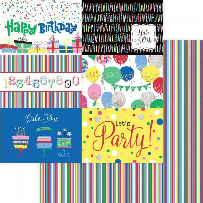 Papier Imprimé Recto-verso 12x12 Confetti Happy Birthday