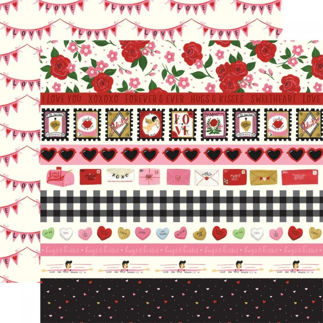 Papier Imprimé Recto-verso 12x12 Be My Valentine Border Strips