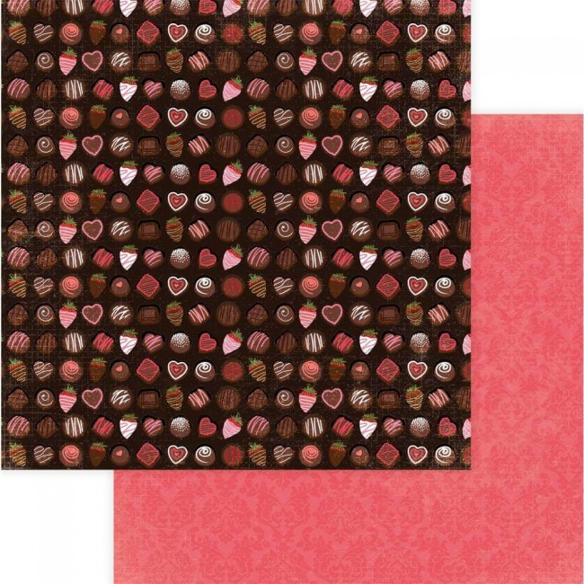 Papier Imprimé Recto-verso 12x12 Be Mine Box Of Chocolates
