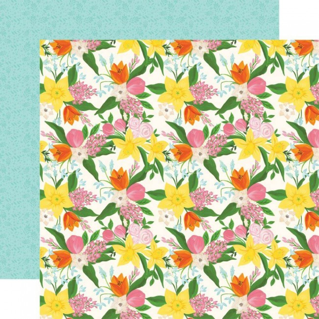 Papier Imprimé Recto-verso 12x12 I love Spring Fresh Cut Flowers