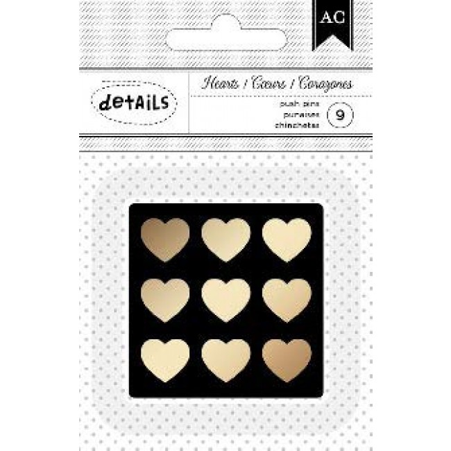 Gold Hearts Push Pins