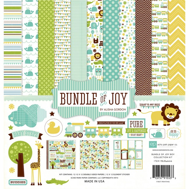 Kit Papiers Imprimés 12x12 Bundle Of Joy Boy