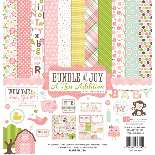 Kit Papiers Imprimés 12x12 Bundle Of Joy 2 Girl