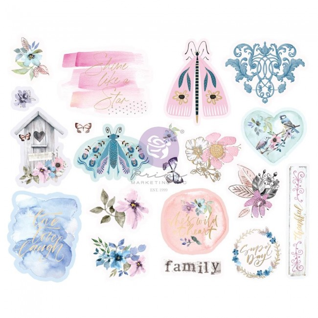 Chipboard Watercolor Floral Shapes Foil Accents