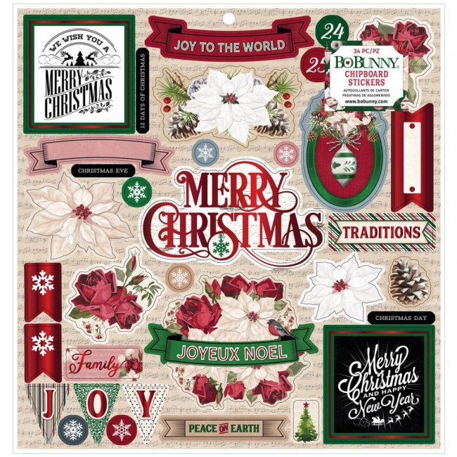 Chipboard 12x12 Joyful Christmas With Red Foil Accents