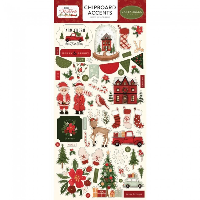 Chipboard 6x13 Hello Christmas Accents
