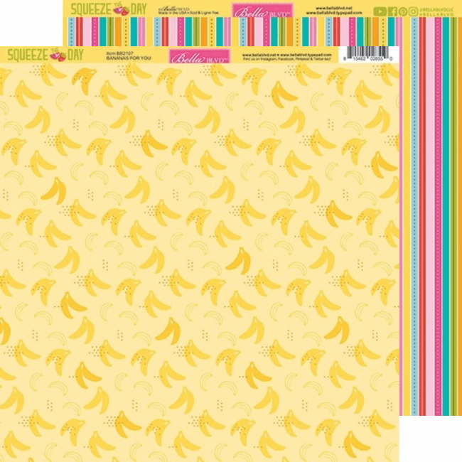 Papier Imprimé Recto-verso 12x12 Squeeze The Day Bananas For You