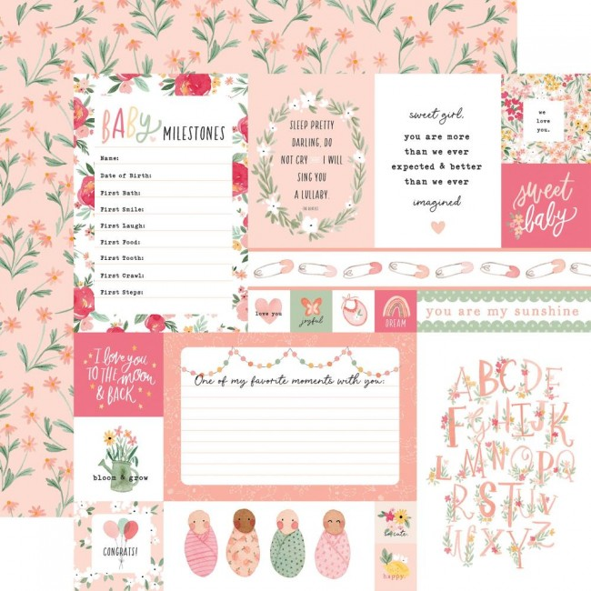 Papier Imprimé Recto-verso 12x12 Welcome Baby Girl Multi Journaling Cards