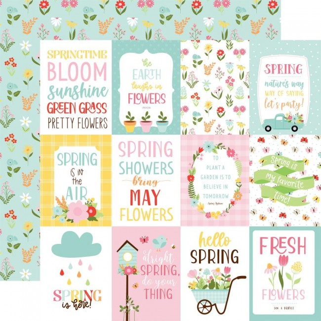 "Papier Imprimé Recto-verso 12x12 Welcome Spring 3""X4"" Journaling Cards"