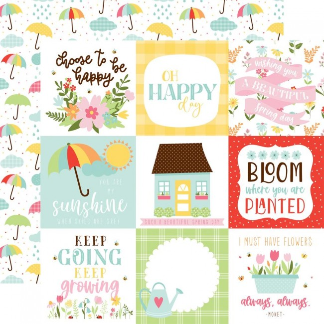 "Papier Imprimé Recto-verso 12x12 Welcome Spring 4""X4"" Journaling Cards"