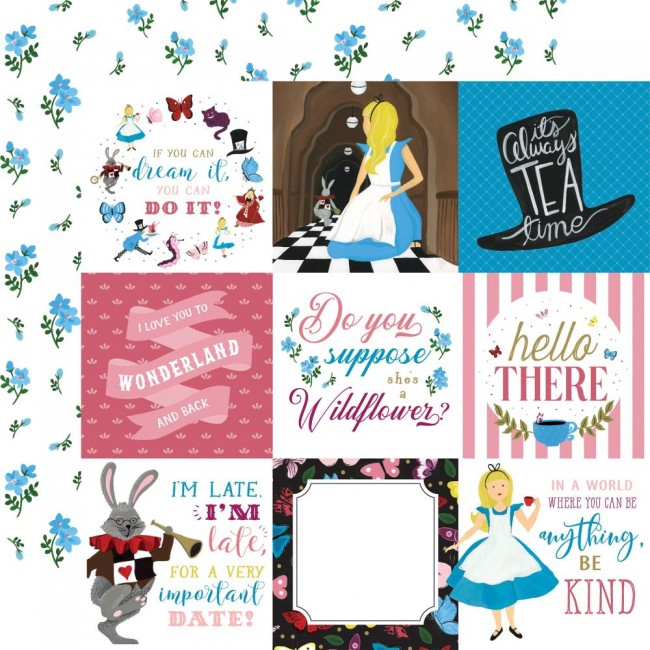 "Papier Imprimé Recto-verso 12x12 Alice In Wonderland No. 2 4""X4"" Journaling Cards"