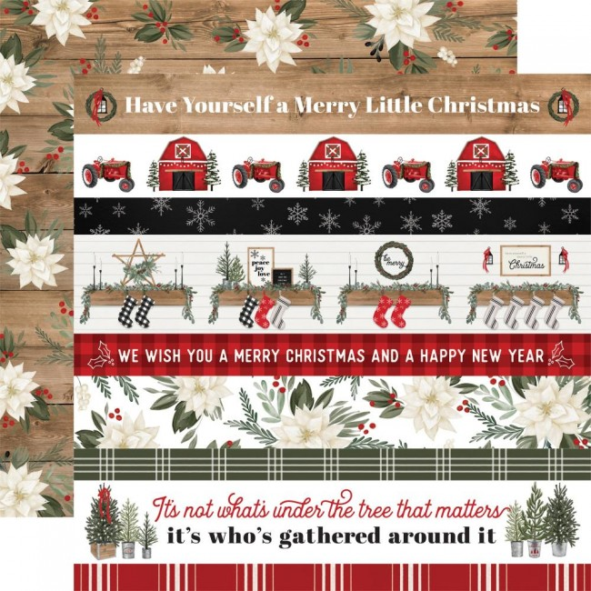 Papier Imprimé Recto-verso 12x12 Farmhouse Christmas Border Strips