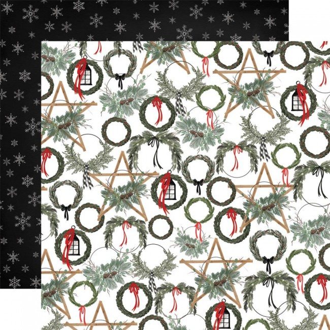 Papier Imprimé Recto-verso 12x12 Farmhouse Christmas Noel Wreaths