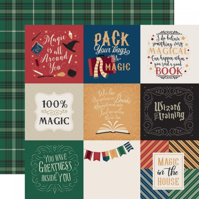 """Papier Imprimé Recto-verso 12x12 Witches & Wizards 4""""X4"""" Journaling Cards"""